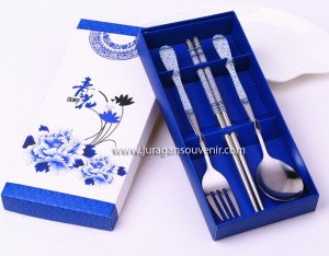 3 Pcs Spoon Chopstick Blue Packing