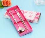 2 pcs Spoon Chopstick Pink Packing