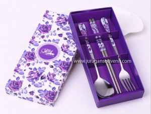 3 Pcs Spoon Chopstick Purple Packing
